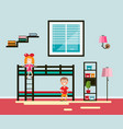 kids room with bed and window boy and girl flat vector image vector image