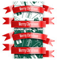 merry christmas ribbon set and seamless pattern vector image vector image