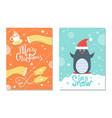 merry christmas winter postcard warm cloth penguin vector image