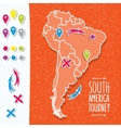 Orange hand drawn South America map with map pins vector image vector image