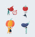 people with big giant vegetable in theirs hands vector image vector image