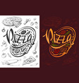 pizza logo or food poster design template vector image