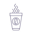 purple line contour of disposable cup with hot vector image vector image