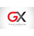 red and black gx g x letter logo design creative vector image vector image