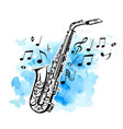 saxophone on a blue watercolor background vector image