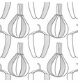 seamless black and white pattern with onions and vector image