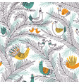 seamless tropical pattern with birds on tree in vector image vector image