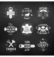 set leather craft logo designs retro genuine vector image vector image