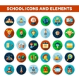 Set of school college flat design icons and vector image vector image