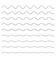set of wavy horizontal dots lines design element vector image vector image