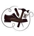 shoe repair silhouette vector image vector image