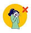 sick woman character coughing wrong way spraying vector image