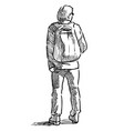 sketch young man with backpack standing