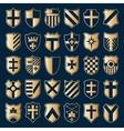 Sset of gold heraldic shields vector image vector image