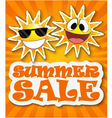 Summer sale background with smiling sun vector image vector image