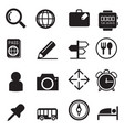 traveling and transport silhouette icons set vector image