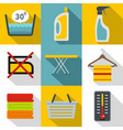 washing dirty clothes icons set flat style vector image vector image