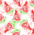 Watermelon seamless pattern with watermelon vector image
