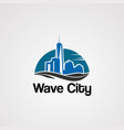 wave city logo with skyline on sun concept vector image