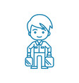 working as a loader linear icon concept working vector image