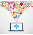 Cloud computing network notebook vector image
