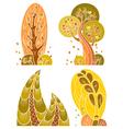 Autumn trees set in retro style vector image