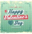 Retro vintage Valentines day greeting card design vector image