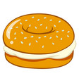 bagel with cream cheese vector image