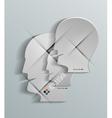 Human head 3d paper design vector image