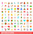100 child icons set cartoon style vector image vector image