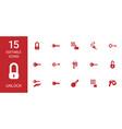 15 unlock icons vector image vector image