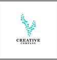 abstract v letter molecules v technology logo vector image vector image