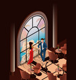 beautiful woman and man in restaurant near window vector image vector image
