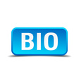 bio blue 3d realistic square isolated button vector image vector image