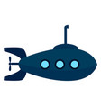 blue submarine on white background vector image