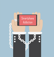 Businessman hands with smartphone and shackle Sma vector image vector image