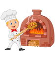 Cartoon chef holding hot pizza with traditional ov vector image vector image