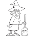 Cartoon Witch Holding a Broom vector image vector image