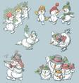 cheerful snowmen vector image