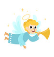 christmas angel with halo wings and trumpet vector image