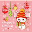 christmas card with a cute little mouse that holds vector image vector image