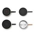 collection empty frying pans top view vector image vector image