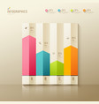 Colorful origami paper graph infographic vector image