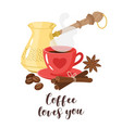 design with turk coffee maker vector image vector image