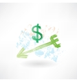 Dollar arrow grunge icon vector image