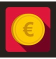 Euro coin icon flat style vector image vector image