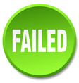 failed green round flat isolated push button vector image vector image