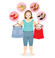fat woman decide selecting shoes for clothing vector image vector image