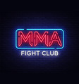 fight club neon sign mma neon symbol logo vector image vector image