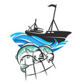 fishing vessel and fish in networks vector image vector image